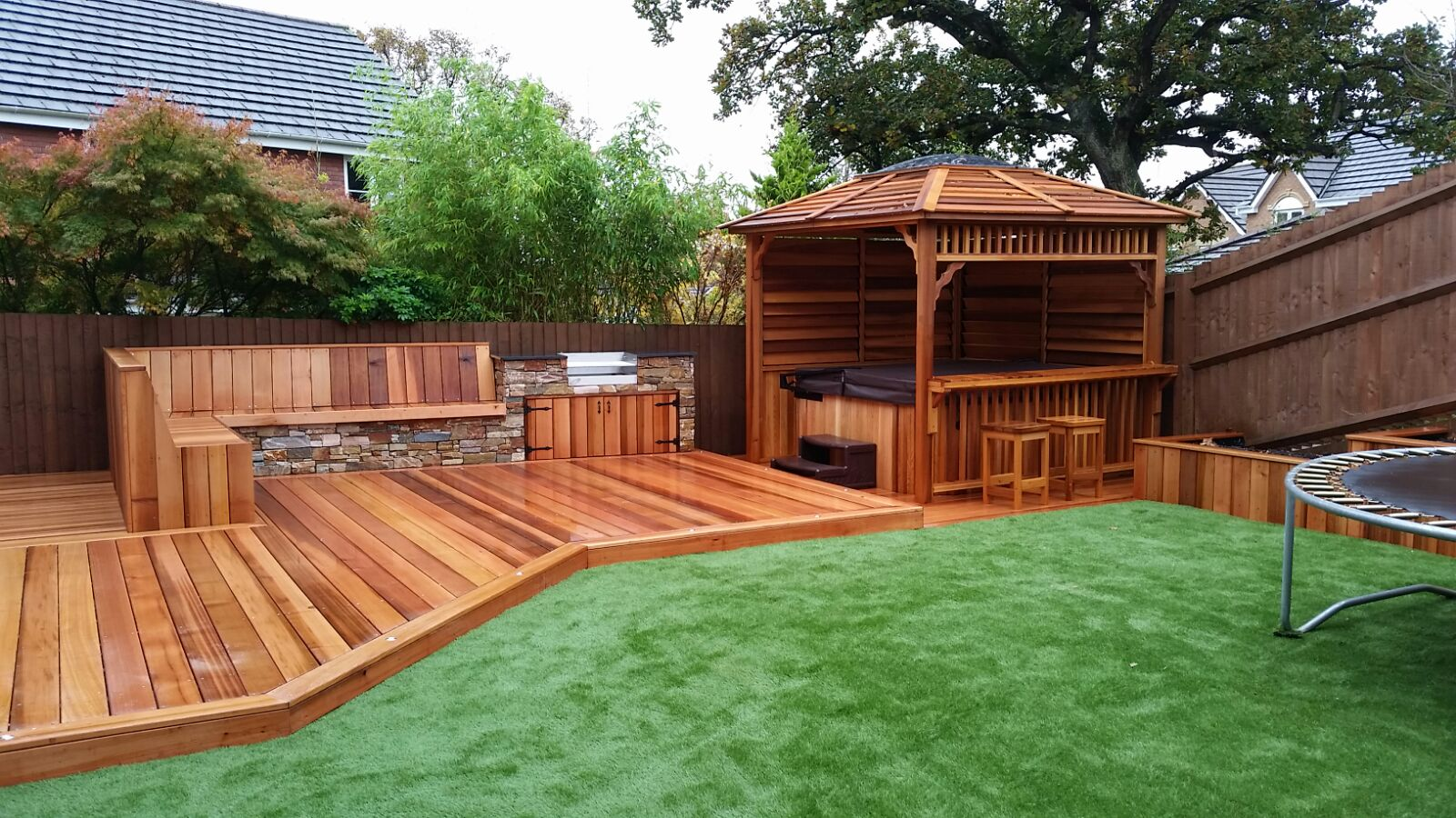 Cedar decking  stone cladding